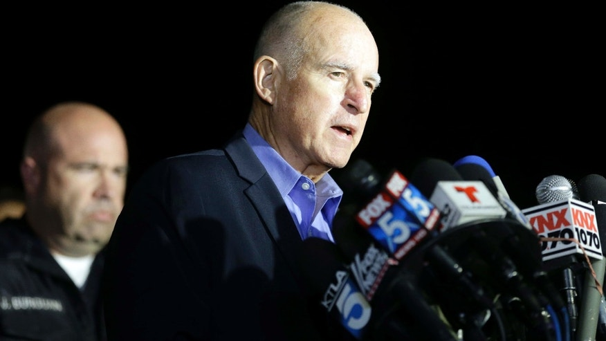 Dec. 3, 2015: California Gov. Jerry Brown reacts as he speaks during a press conference near the site of yesterday's mass shooting in San Bernardino, Calif.