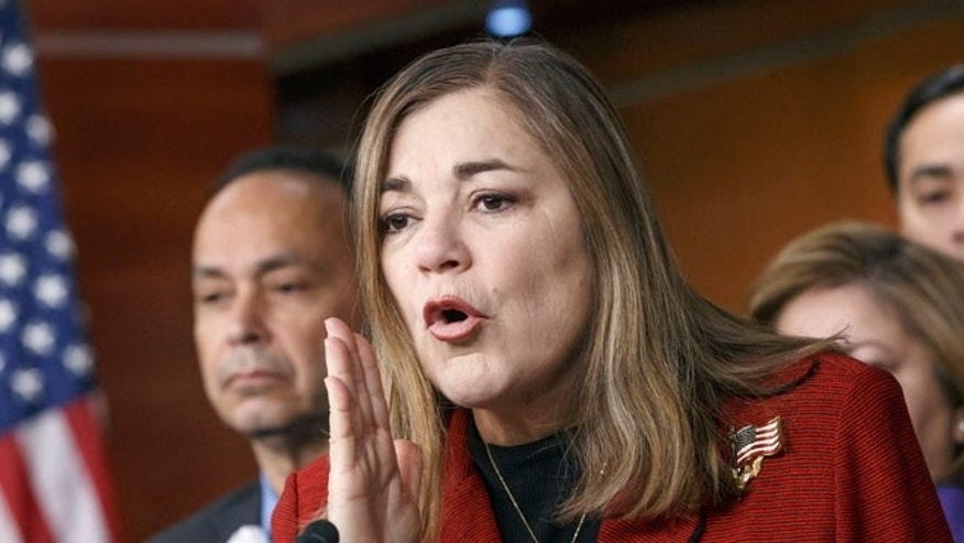FILE: Feb. 13, 2015: Rep. Loretta Sanchez, D-Calif., at a Congressional Hispanic Caucus news conference on Capitol Hill in Washington, D.C. (AP)