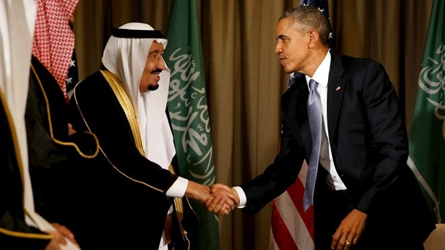 President Barack Obama shakes hands with Saudi Arabia's King Salman after their meeting alongside the G20 summit at the Regnum Carya Resort in Antalya, Turkey, November 15, 2015. (REUTERS/Jonathan Ernst)