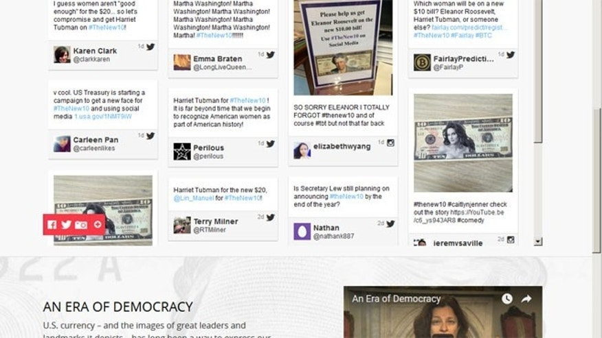File: A screen-shot of comments on the Treasury Dept's 'New 10' webpage, about the new $10 bill. (Treasury.gov)