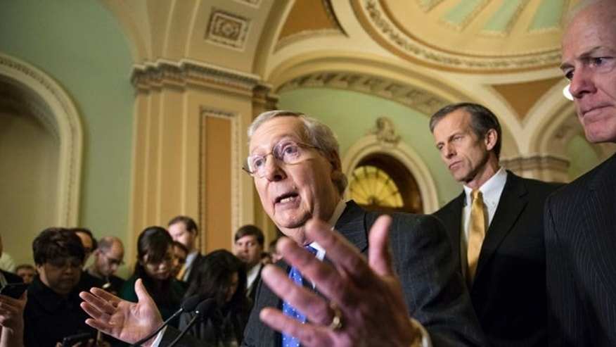 Dec. 15, 2015: (l to r) GOP Sens. Mitch McConnell, John Thune, John Cornyn on Capitol Hill in Washington, D.C. (AP)
