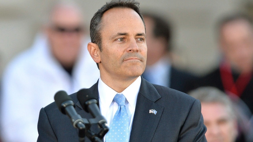 Dec. 8, 2015: entucky Governor Matt Bevin looks out over the audience before giving his speech after taking the oath of office to become the 62nd Governor of the Commonwealth of Kentucky during a public ceremony in Frankfort, Ky.