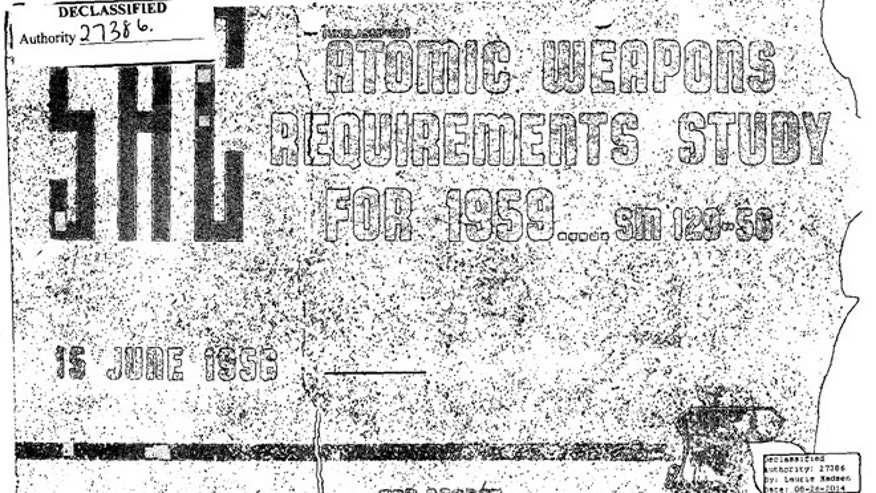 The front page of the 1956 'Atomic Weapons Requirements Study'