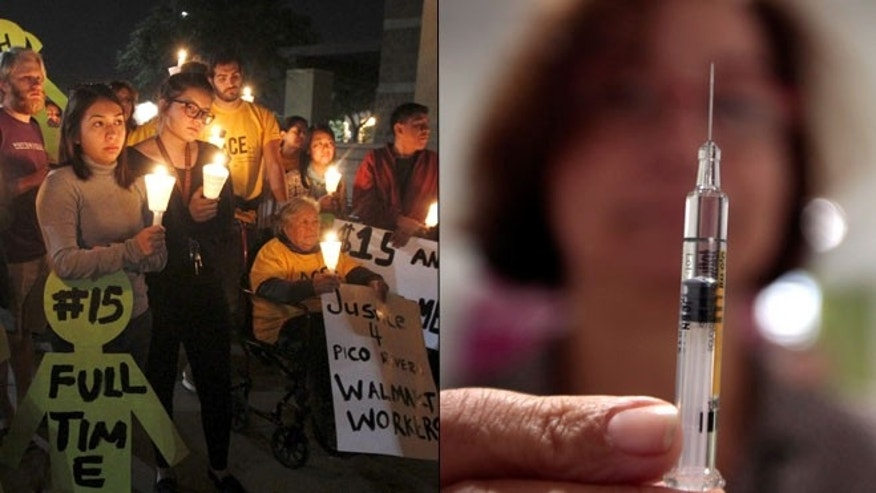 At left, protesters hold a vigil after a march for a minimum wage hike in Pico Rivera, Calif., on Nov. 19, 2015; at right, a nurse holds a syringe. (Reuters)
