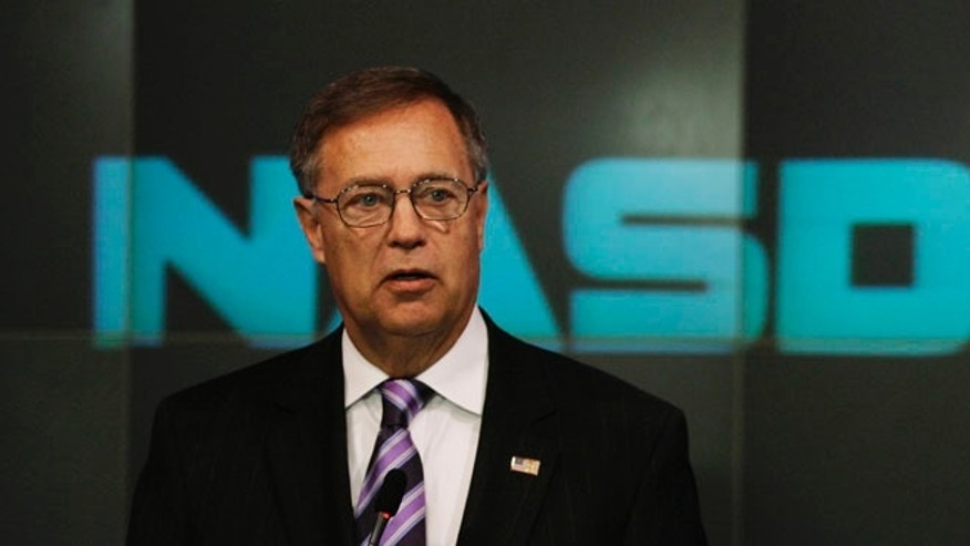 FILE: March 2007: Former House Financial Services Committee Chairman and Rep. Mike Oxley, R-Ohio, at the Nasdaq stock market in New York. (AP)