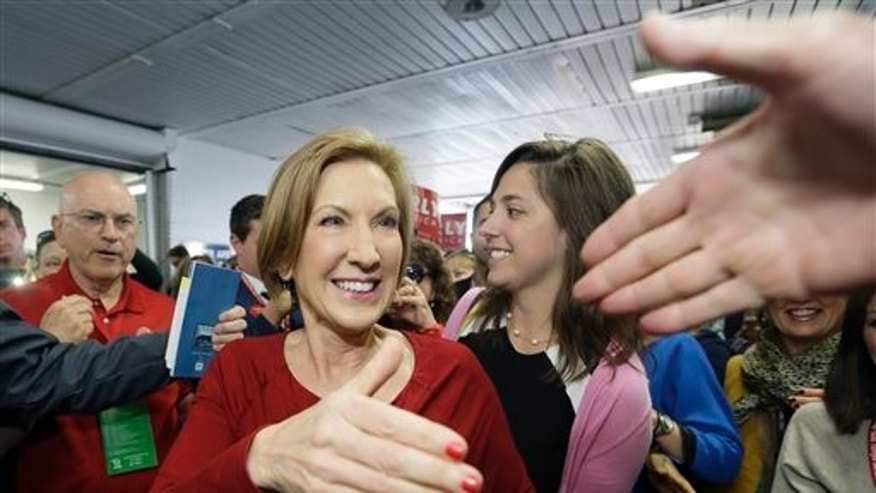 FILE: Sept. 19, 2015: GOP presidential candidate Carly Fiorina at the 2016 Mackinac Republican Leadership Conference, Saturday, Mackinac Island, Mich. (AP)
