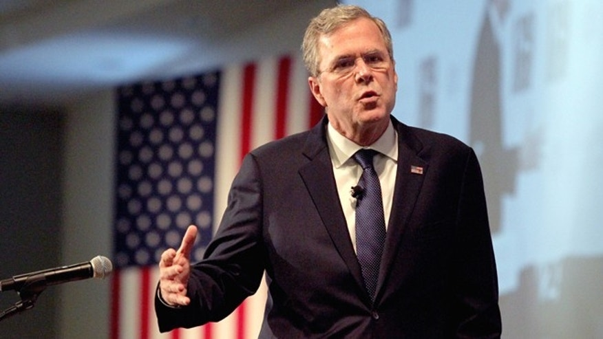 In this Jan. 5, 2016, photo, Republican presidential candidate, former Florida Gov. Jeb Bush speaks at the New Hampshire Forum on Addiction and the Heroin Epidemic at Southern New Hampshire University in Manchester, N.H. (AP Photo/Mary Schwalm)