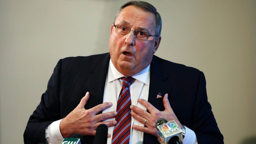 Jan. 8, 2016: Gov. Paul LePage speaks at a news conference at the State House in Augusta, Maine.