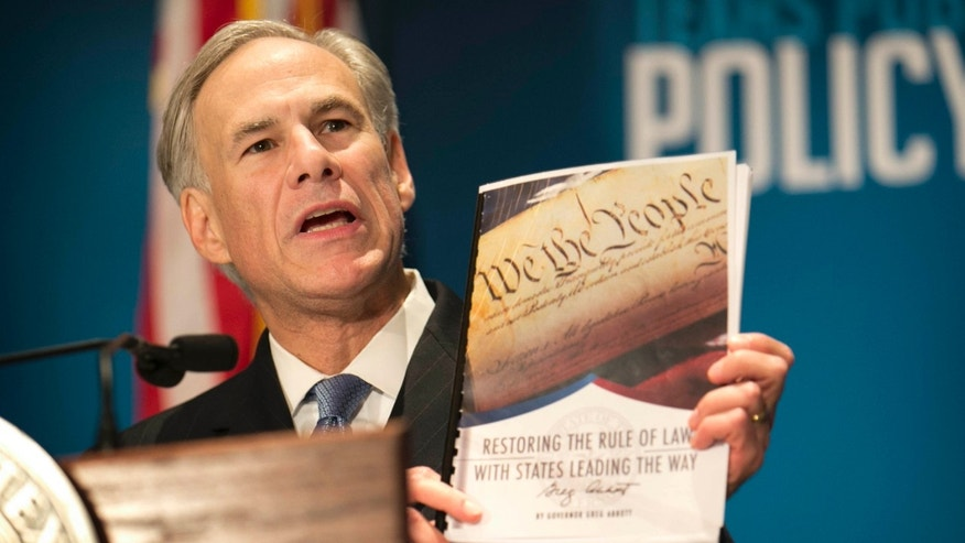 Jan. 8, 2016: Gov. Greg Abbott calls for a convention of states to amend the Constitution during a speech at the Texas Public Policy Foundation in Austin, Texas.