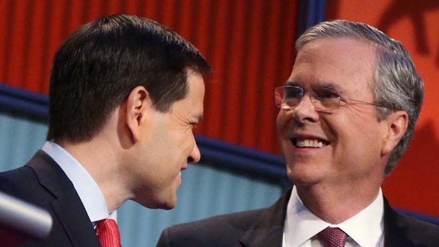 Marco Rubio and Jeb Bush during the first Republican presidential debate on Aug. 6, 2015.