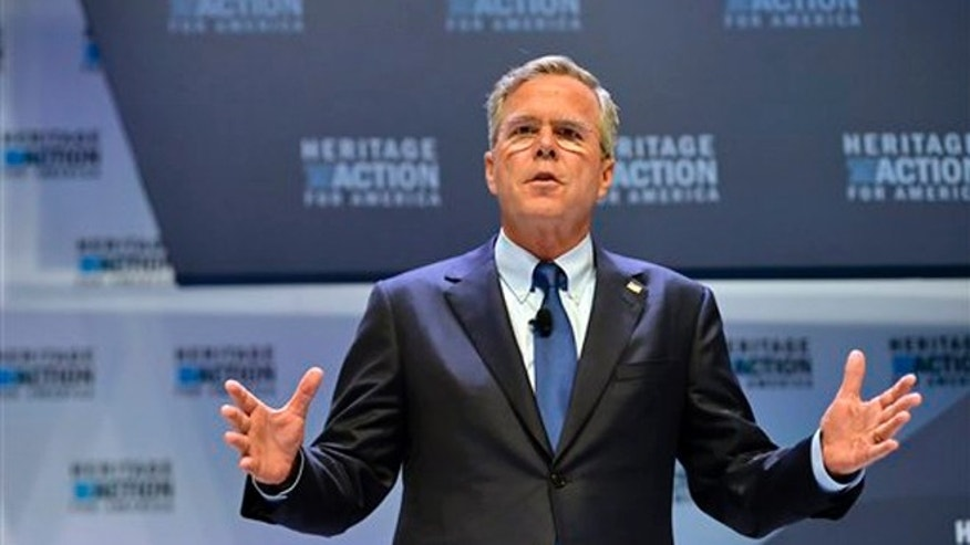 Sept. 18, 2015: Republican presidential candidate former Florida Gov. Jeb Bush speaks at a presidential forum sponsored by Heritage Action at the Bon Secours Wellness Arena in Greenville, S.C.