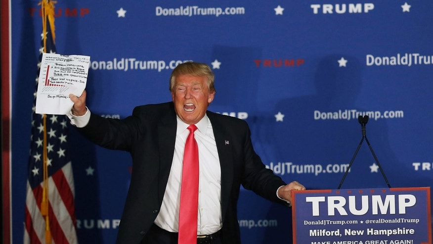 Presidential candidate Donald Trump during a campaign event on February 2, 2016 in Milford, Iowa.