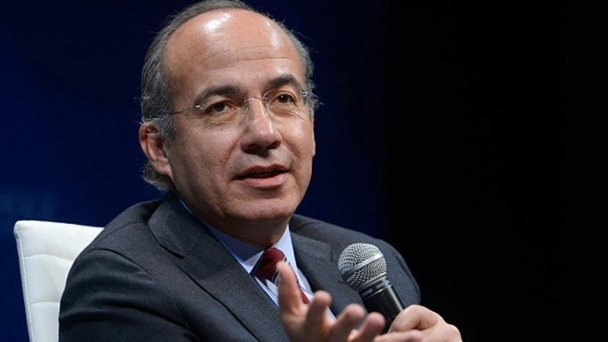 NEW YORK, NY - OCTOBER 01:  Former President of Mexico Felipe Calderon speaks on stage  during the 2015 Concordia Summit at Grand Hyatt New York on October 1, 2015 in New York City.  (Photo by Leigh Vogel/Getty Images for Concordia Summit)