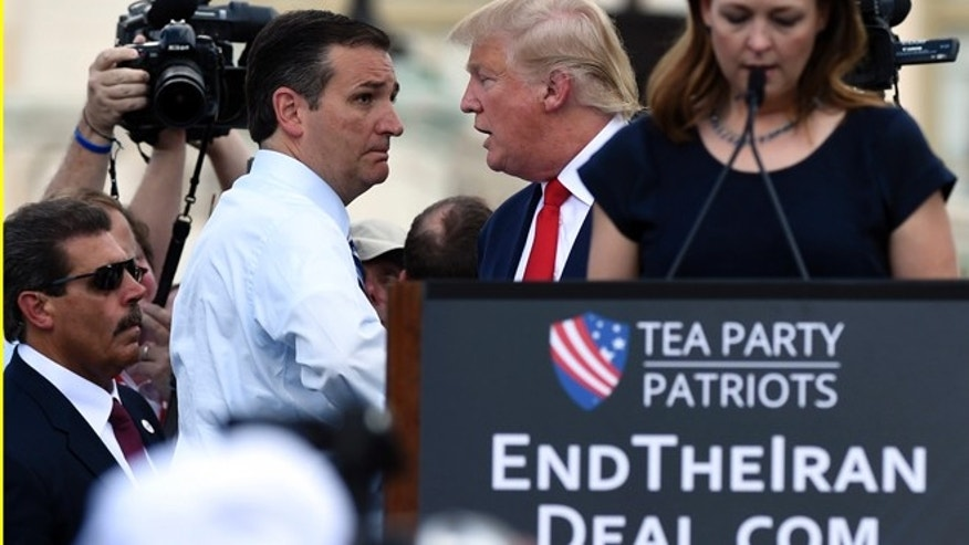 Sept. 9, 2015: GOP presidential candidates Donald Trump, cntr., and Texas Sen. Ted Cruz at Capitol Hill rally on Iran nuclear deal, Washington, D.C.