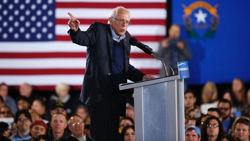 Sen. Bernie Sanders at a rally Sunday, Nov. 8, 2015, in North Las Vegas, Nevada.