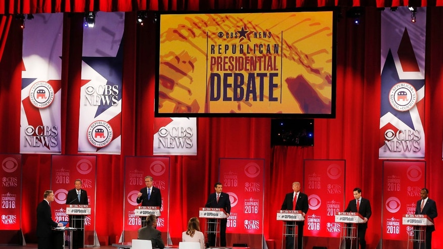 Republican presidential candidates, from left, Ohio Gov. John Kasich, former Florida Gov. Jeb Bush, Sen. Ted Cruz, R-Texas, businessman Donald Trump, Sen. Marco Rubio, R-Fla., retired neurosurgeon Ben Carson participate during the CBS News Republican presidential debate at the Peace Center, Saturday, Feb. 13, 2016, in Greenville, S.C.