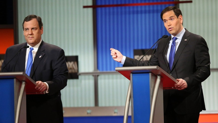 NORTH CHARLESTON, SC - JANUARY 14:  Republican presidential candidates (L-R) New Jersey Governor Chris Christie and Sen. Marco Rubio (R-FL) participate in the Fox Business Network Republican presidential debate at the North Charleston Coliseum and Performing Arts Center on January 14, 2016 in North Charleston, South Carolina. The sixth Republican debate is held in two parts, one main debate for the top seven candidates, and another for three other candidates lower in the current polls.  (Photo by Scott Olson/Getty Images)