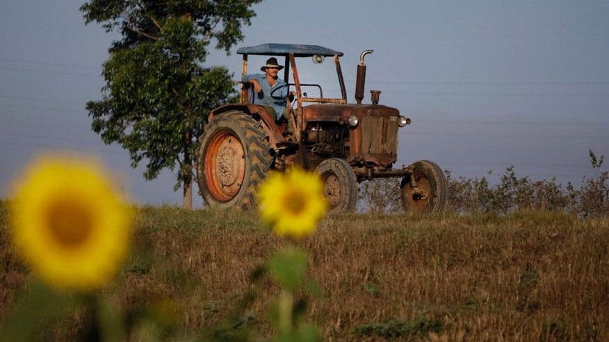 Feb. 22, 2011: A farmer drives his tractor in Pinar del Rio, Cuba.