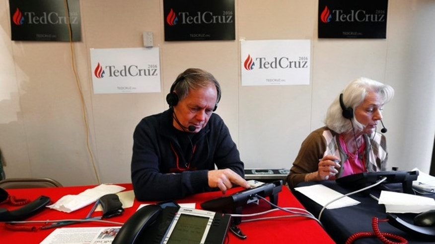 Volunteers make calls for GOP presidential candidate Sen. Ted Cruz, Feb. 16, 2016, in Greenville, S.C.