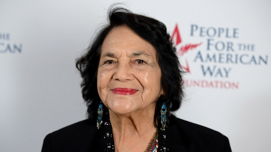 BEVERLY HILLS, CA - DECEMBER 12:  Labor leader Dolores Huerta attends the 2015 Annual Spirit Of Liberty Awards Dinner at the Beverly Wilshire Four Seasons Hotel on December 12, 2015 in Beverly Hills, California.  (Photo by Michael Kovac/Getty Images)
