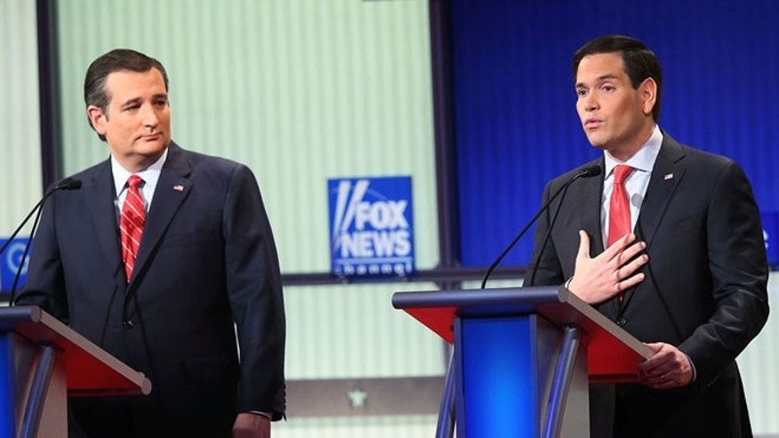 DES MOINES, IA - JANUARY 28:  Republican presidential candidates (R-L) Sen. Marco Rubio (R-FL) and Sen. Ted Cruz (R-TX) participate in the Fox News - Google GOP Debate January 28, 2016 at the Iowa Events Center in Des Moines, Iowa. Residents of Iowa will vote for the Republican nominee at the caucuses on February 1. Donald Trump, who is leading most polls in the state, decided not to participate in the debate.  (Photo by Scott Olson/Getty Images)