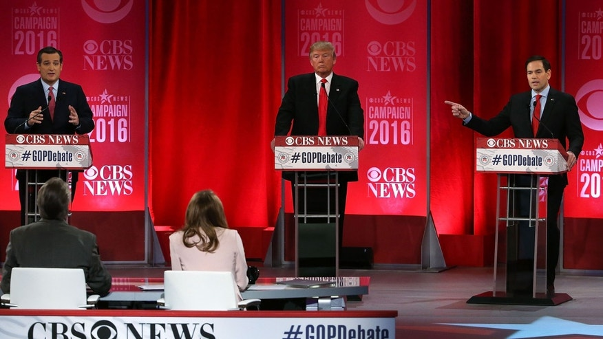 GREENVILLE, SC - FEBRUARY 13:  Republican presidential candidates (L-R) Sen. Ted Cruz (R-TX), Donald Trump and Sen. Marco Rubio (R-FL) participate in a CBS News GOP Debate February 13, 2016 at the Peace Center in Greenville, South Carolina. Residents of South Carolina will vote for the Republican candidate at the primary on February 20.  (Photo by Spencer Platt/Getty Images)