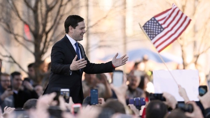 Republican presidential candidate, Sen. Marco Rubio, R-Fla. speaks during a rally, Friday, Feb. 26, 2016, in Dallas. (AP Photo/Brandon Wade)