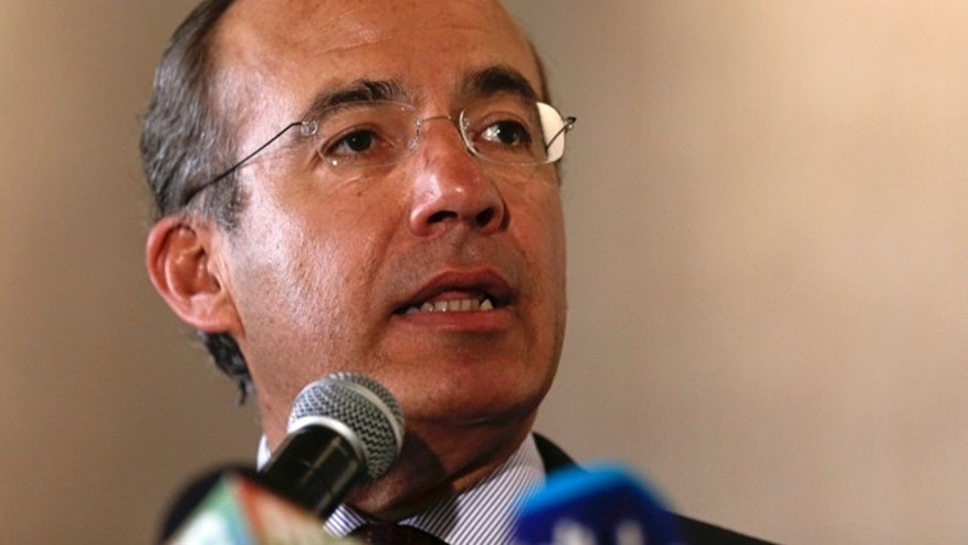 FILE - In this April 9, 2015, file photo, Mexico's former President Felipe Calderon speaks at a joint press conference one day before the Summit of the Americas in Panama City. Calderon on Saturday, Feb. 27, 2016,  joined his predecessor in office in unloading on Donald Trump, calling the Republican front-runnerâs campaign racist and saying his discourse on immigration was âsowing anti-American hate around the world.â (AP Photo/Arnulfo Franco, File)