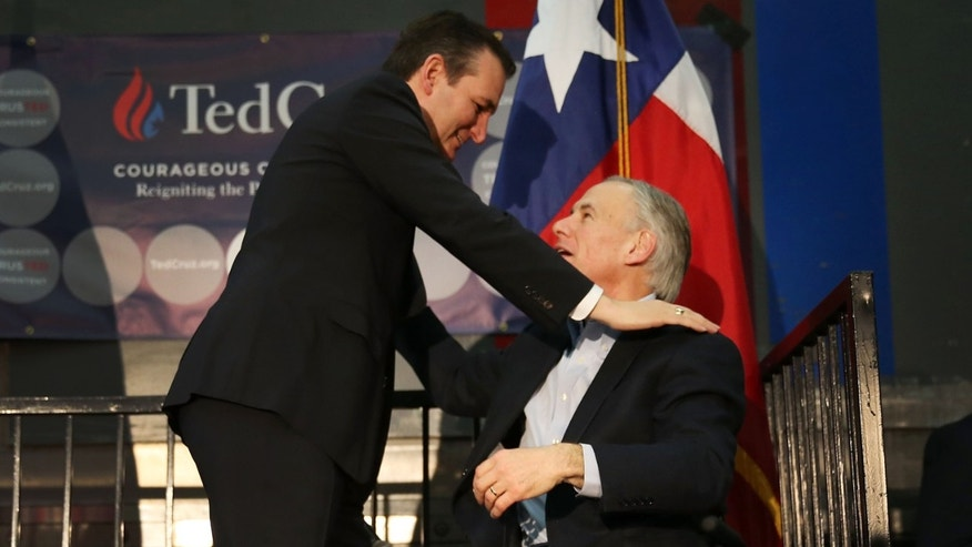 HOUSTON, TX - FEBRUARY 24:  Texas Governor, Greg Abbott, (R) greets Republican presidential candidate U.S. Sen. Ted Cruz (R-TX) during a campaign rally where the Texas governor endorsed him at the Mach Industrial Group on February 24, 2016 in Houston, Texas. The process to select the next Democratic and Republican Presidential candidates continues.  (Photo by Joe Raedle/Getty Images)