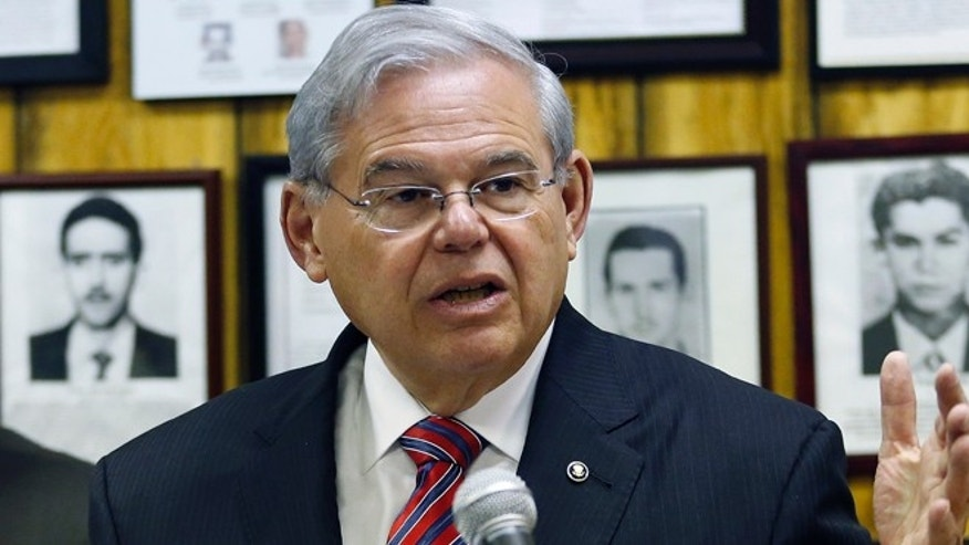 U.S. Sen. Bob Menendez  during a news conference, in Union City, N.J. on Feb. 18, 2016.
