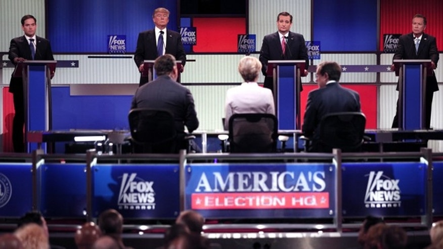 Florida Sen. Marco Rubio, New York businessman Donald J. Trump, Texas Sen. Ted Cruz, and Ohio Gov. John Kasich listen to the moderators of the Fox News Republican Debate. (Fox News)