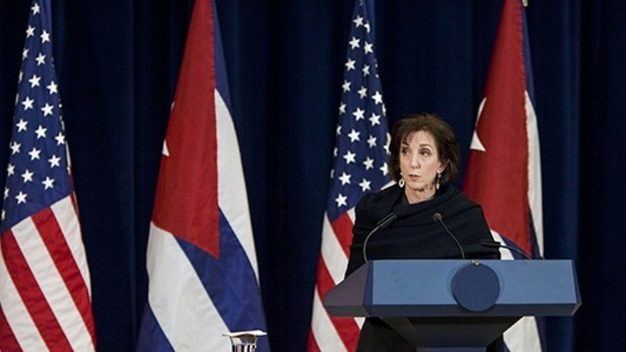 WASHINGTON, DC - FEBRUARY 27: Roberta S. Jacobson, head of the US Delegation to Cuba, speaks to reporters during a press conference at the Department of State in Washington, D.C. on February 27, 2015. (Photo by Samuel Corum/Anadolu Agency/Getty Images)