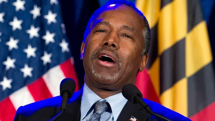 FILE - In this March 1, 2016 file photo, Ben Carson speaks during an election night party in Baltimore. Carson says 'no path forward' in 2016 race after Super Tuesday results. ( AP Photo/Jose Luis Magana, File)