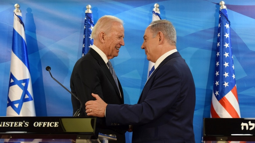 Vice President Joe Biden and Israeli Prime Minister Benjamin Netanyahu shake hands while giving joint statements in the prime minister's office in Jerusalem Wednesday.