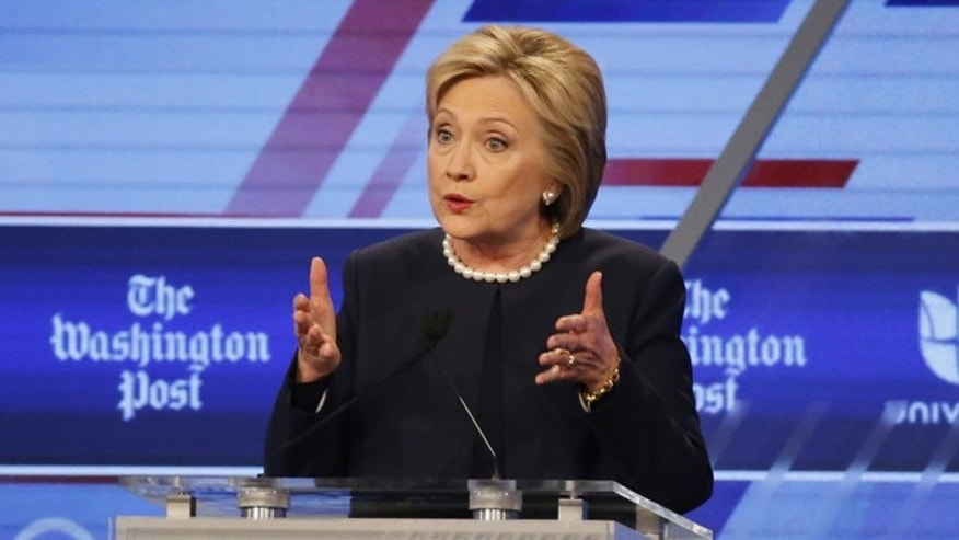 Democratic presidential candidate, Hillary Clinton speaks at the Univision, Washington Post Democratic presidential debate at Miami-Dade College,  Wednesday, March 9, 2016, in Miami, Fla. (AP Photo/Wilfredo Lee)