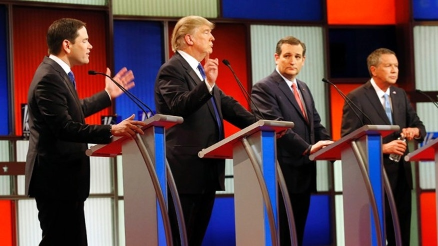 FILE - In this Feb. 25, 2016 file photo, Republican presidential candidates, from left, Sen. Marco Rubio, R-Fla., Donald Trump, Sen. Ted Cruz, R-Texas, and Ohio Gov. John Kasich debate take part in the Republican presidential primary debate at the University of Houston in Houston. Nancy Reagan spent decades protecting the legacy of her husband, but some of President Ronald Reagan's famous political advice appears lost among the White House candidates who embrace him as a guiding light. (AP Photo/David J. Phillip, File)