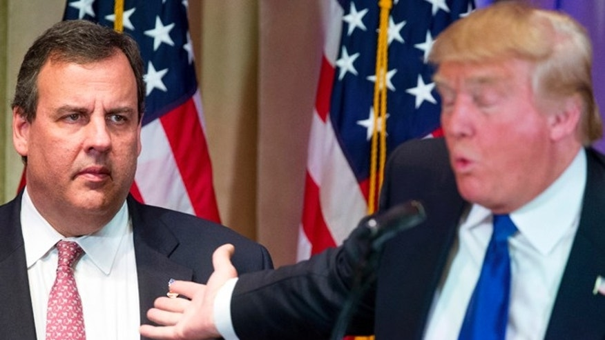Republican presidential candidate Donald Trump, right, is accompanied by New Jersey Gov. Chris Christie, left.