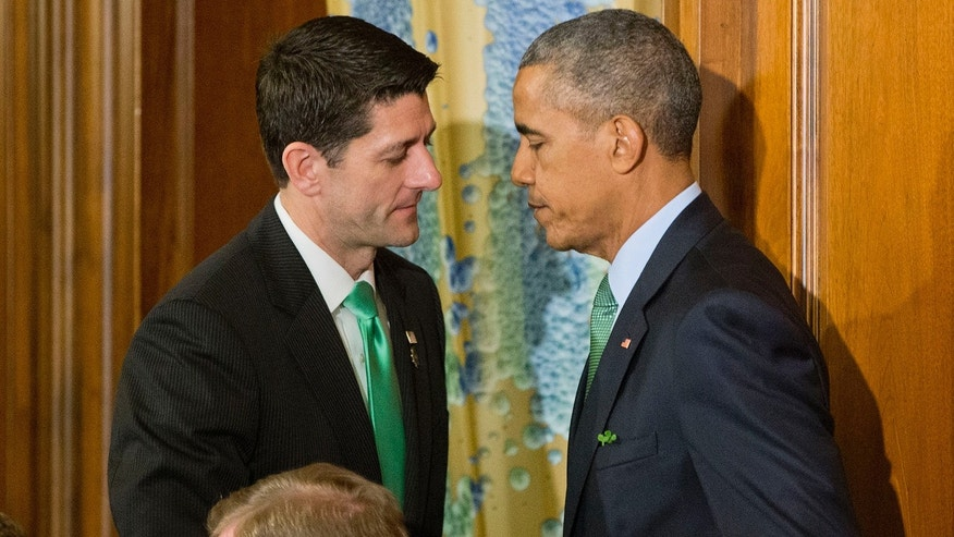 March 15, 2016: President Barack Obama, right, and House Speaker Paul Ryan of Wis., left, shake hands during a lunch celebrating St. Patrick's Day on Capitol Hill in Washington. (AP Photo/Pablo Martinez Monsivais)