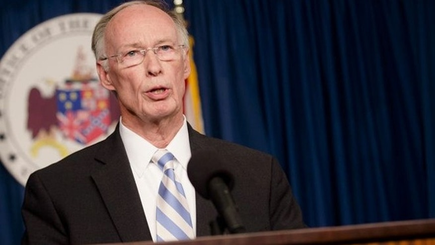 Alabama Gov. Robert Bentley speaks during a news conference Wednesday, March 23, 2016, at the state Capitol in Montgomery, Ala.
