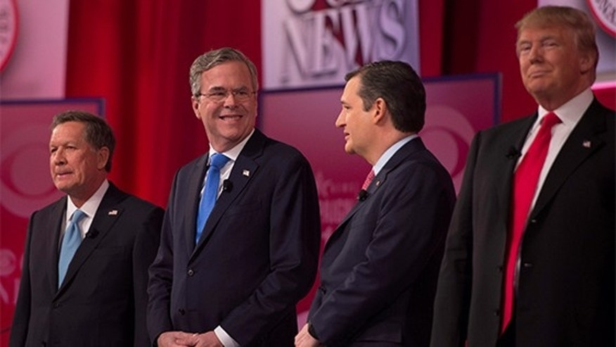 Republican candidates during a presidential debate in Greenville, South Carolina, February 13, 2016.