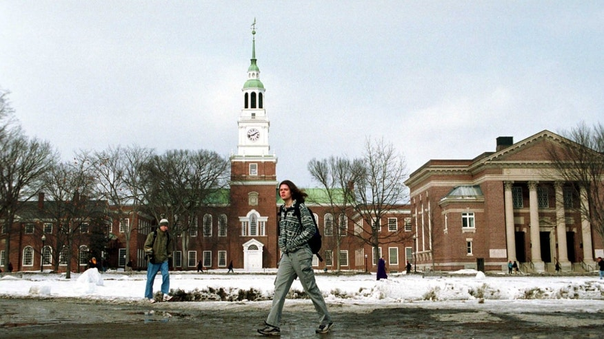 A Dartmouth College student walks across the main campus. (Photo by Darren McCollester/Newsmakers)
