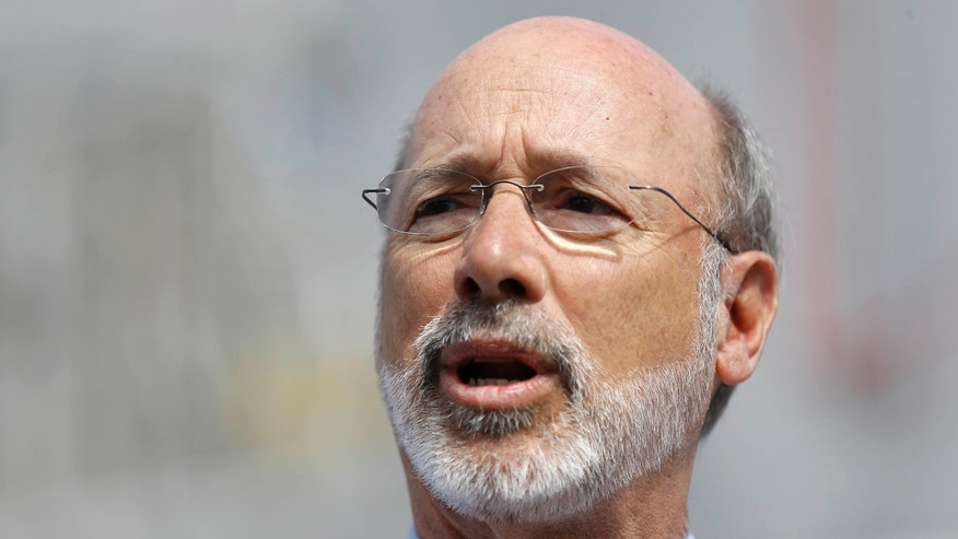 March 8, 2016: Pennsylvania Gov. Tom Wolf speaks during a news conference, at the Trolley Car Cafe in Philadelphia.