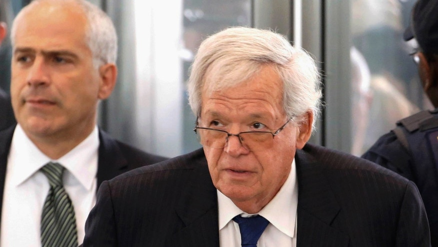 FILE - In this June 9, 2015 file photo, former U.S. House Speaker Dennis Hastert arrives at the federal courthouse in Chicago for his arraignment on federal charges in his hush-money case in Chicago.