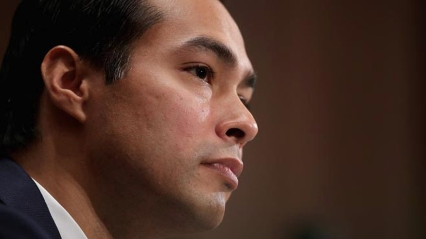 WASHINGTON, DC - JUNE 17:  Mayor Julian Castro testifies during his confirmation hearing before the Senate Banking, Housing and Urban Affairs Committee in the Dirksen Senate Office Building on Capitol Hill June 17, 2014 in Washington, DC. The current mayor of San Antonio, Texas, Castro has not faced serious opposition in the Senate.  (Photo by Chip Somodevilla/Getty Images)