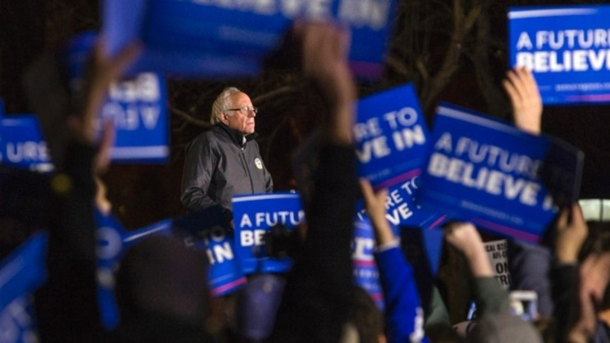 Democratic presidential candidate Sen. Bernie Sanders, I-Vt., speaks during a rally in Washington Square Park in New York, Wednesday, April 13, 2016. (AP Photo/Andres Kudacki)