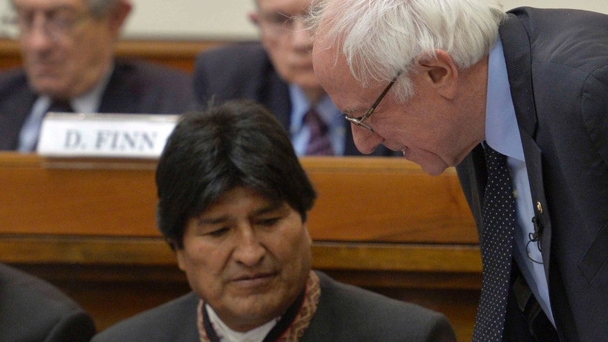 U.S. presidential candidate Bernie Sanders with Bolivia president Evo Morales at the Vatican, Friday, April 15, 2016.