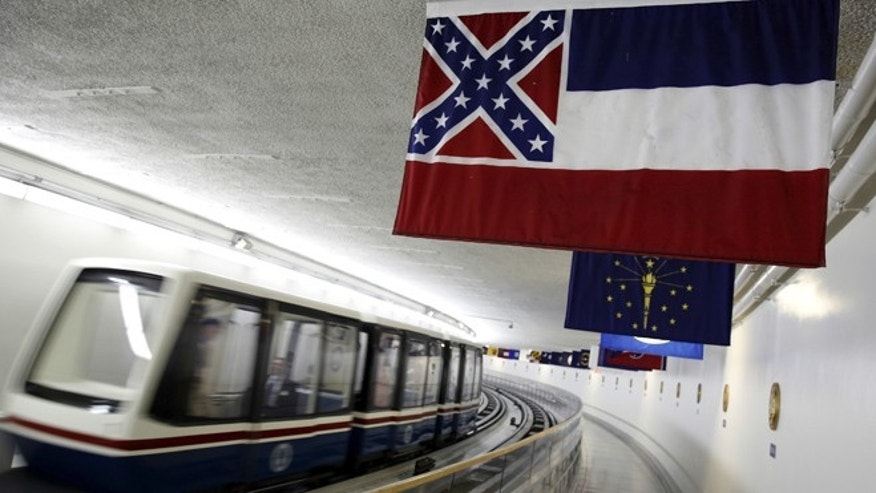 FILE: June 23, 2015: The Mississippi state flag still hangs among other state flags in the senate tunnel under the U.S. Capitol, in Washington, D.C. (REUTERS)