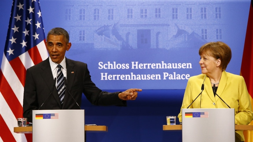 April 24, 2016: President Obama and German Chancellor Angela Merkel speak at a news conference in Hannover, Germany. (Reuters)