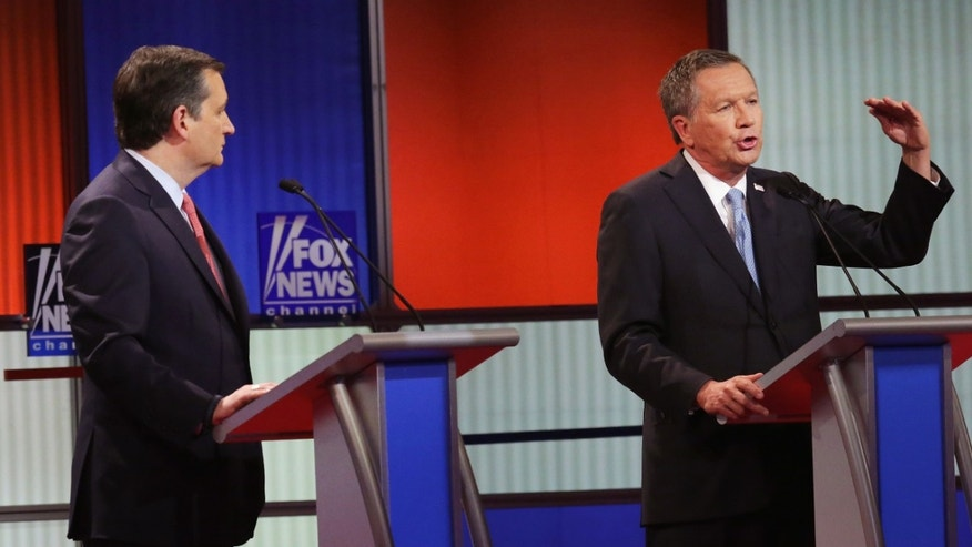 DETROIT, MI - MARCH 03:  Republican presidential candidates (Lto R) Sen. Ted Cruz (R-TX) and Ohio Gov. John Kasich participate in a debate sponsored by Fox News at the Fox Theatre on March 3, 2016 in Detroit, Michigan. Voters in Michigan will go to the polls March 8 for the State's primary.  (Photo by Chip Somodevilla/Getty Images)