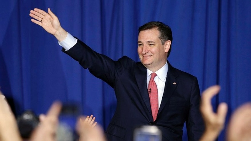 Republican presidential candidate, Sen. Ted Cruz, R-Texas, waves to supporters during a primary night campaign event, Tuesday, May 3, 2016, in Indianapolis. Cruz ended his presidential campaign, eliminating the biggest impediment to Donald Trump's march to the Republican nomination.  (AP Photo/Darron Cummings)